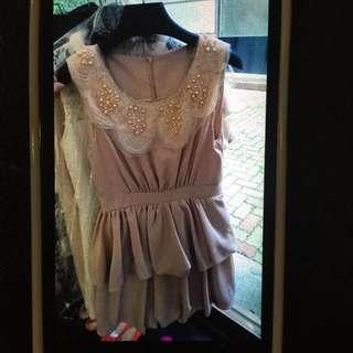 珠珠荷花領蛋糕裙洋裝
