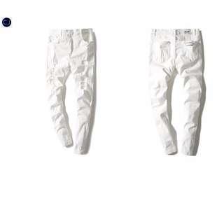 白色破壞褲