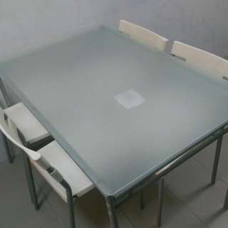 White Glass Top Dining Table Set