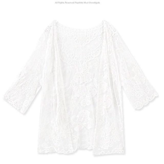 韓國刺繡蕾絲玫瑰花開襟外套