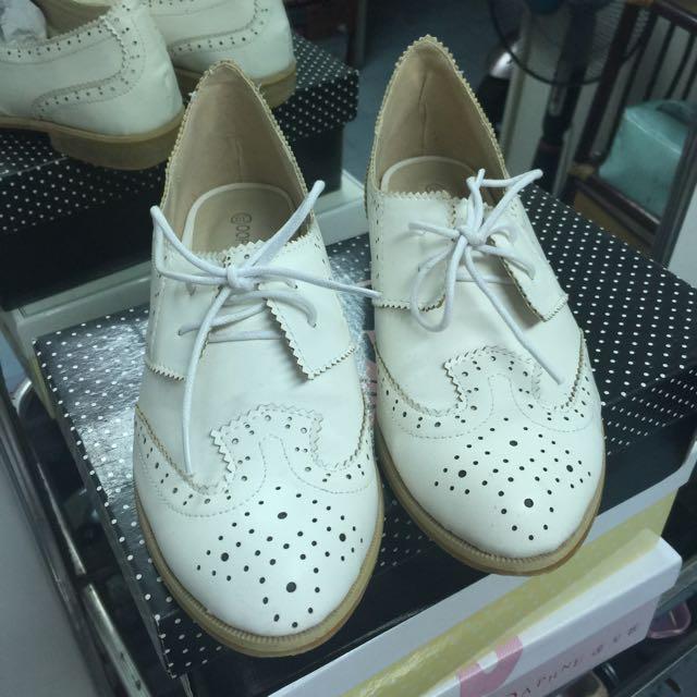 米白牛津鞋
