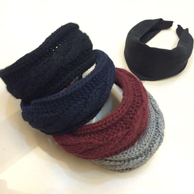 針織麻花/素色冬季髮箍