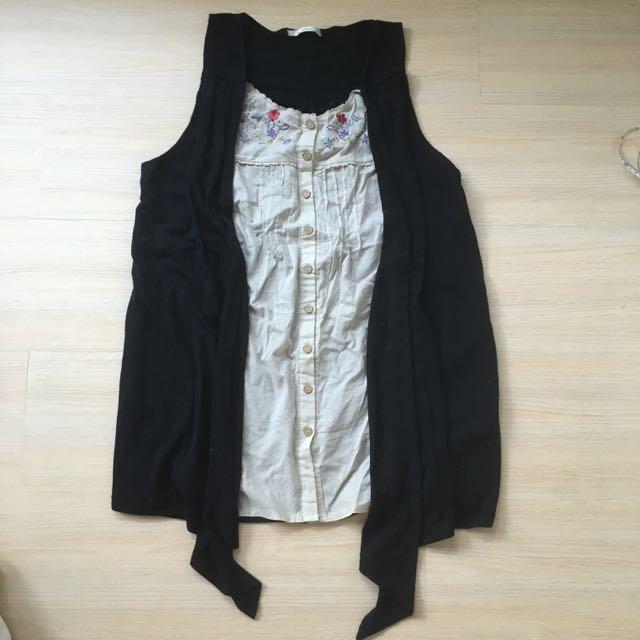 🇯🇵日本帶回 顯瘦假兩件式 無袖森林系刺繡木釦長版上衣