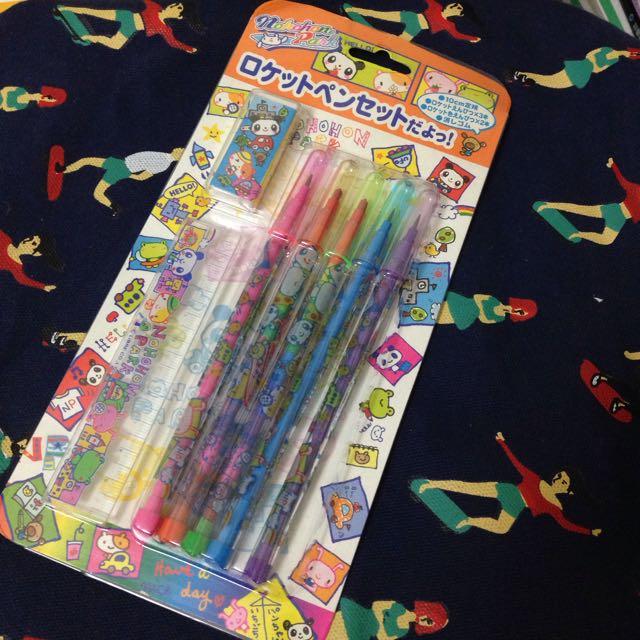鉛筆 彩虹筆 橡皮擦 尺 套組