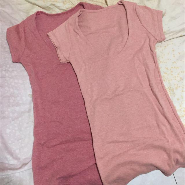 兩件合售 低胸U領短版上衣 女