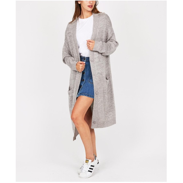Alice in the Eve Drapey Oversized Grey Knit Cardigan