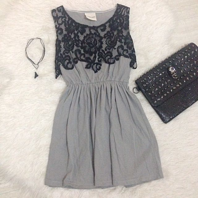 Bangkok Brand Lace Aplique Mini Dress
