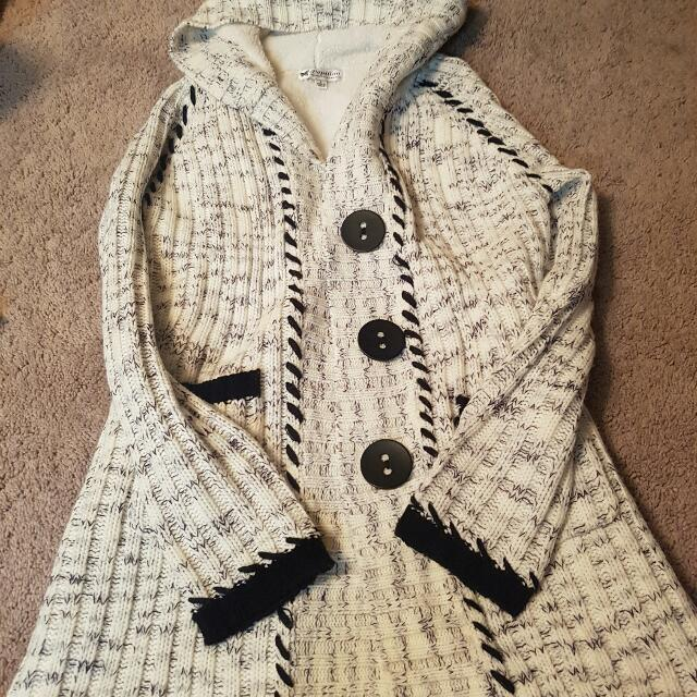 Black And White Hooded Wool Sweater