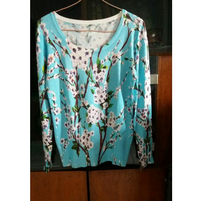 Blue Flowers Sweater