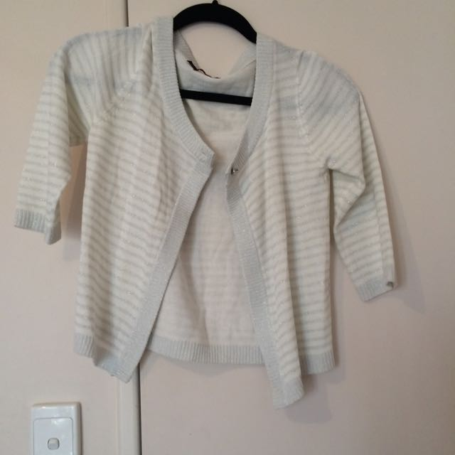 Cream And Silver Striped Cardigan Sz s