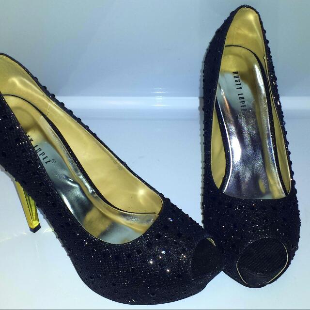 Formal Black Peep Toe High Heels size 8