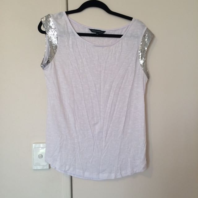 French Connection FCUK sequin Trim Tee Sz s