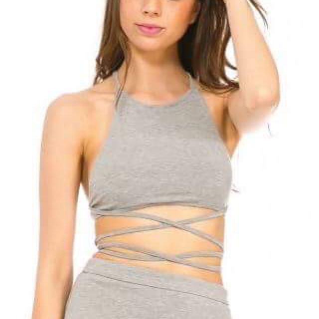 Grey Criss Cross Tie Crop Top Size 10