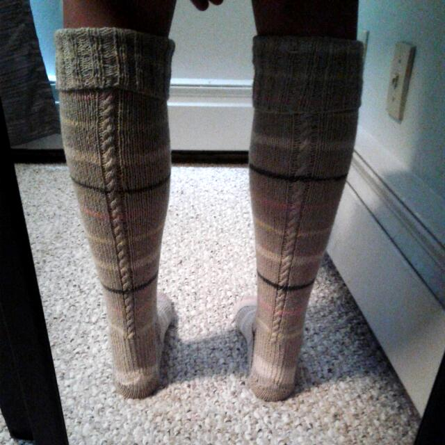 Hand Knit Knee High Socks With Cable