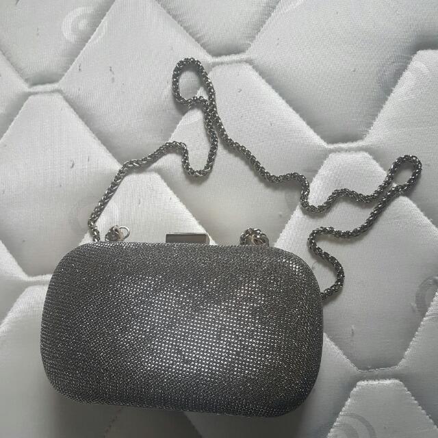 Karen Millen glitter Evening Clutch With Chain