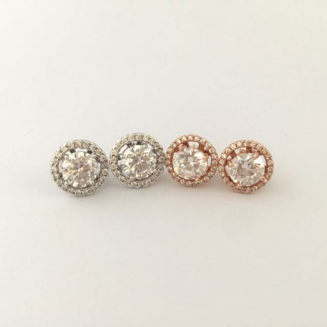 Korean Made Diamond Earrings Woth Removable Jacket