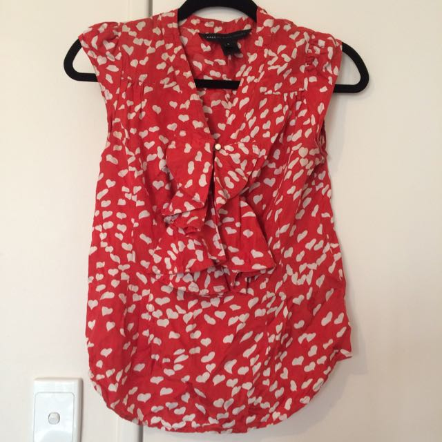 Marc By Marc Jacobs Heart Print Blouse Sz uS 6 (Aus 10)