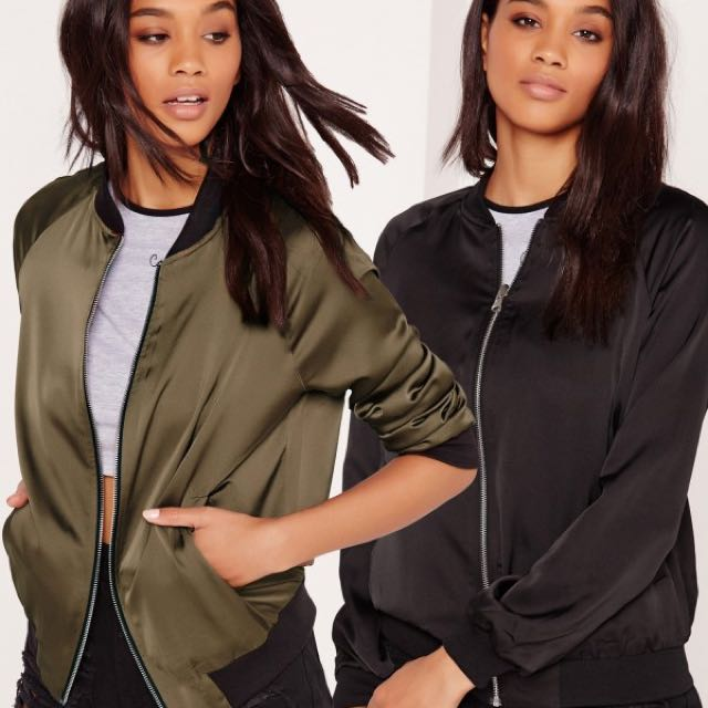 Missguided Reversible Satin Bomber Jacket - Khaki And Black