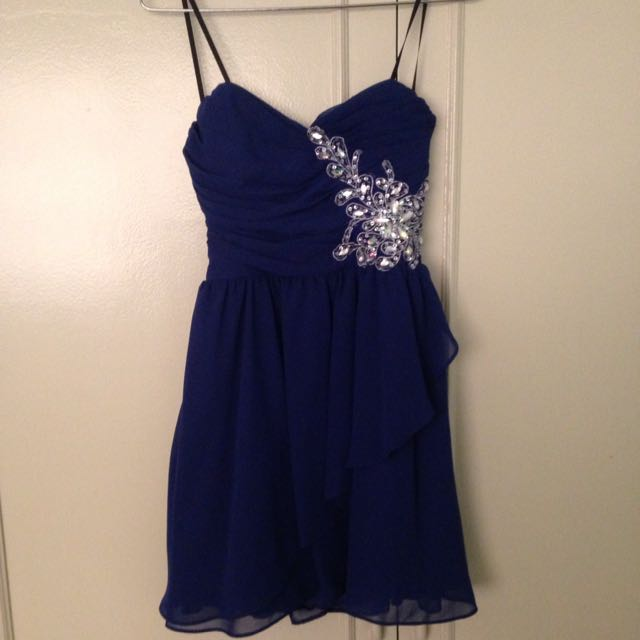 Navy Blue Tube Cocktail Dress