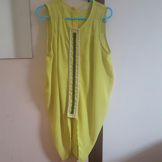 Neon YELLOW Chiffon Top Size 8
