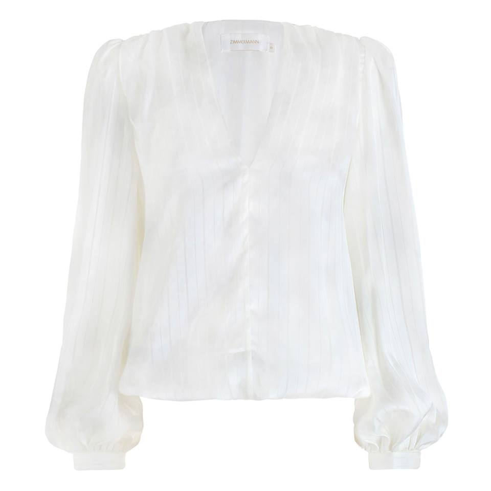 Preown Zimmermann Arcadia Stripe Slouch Blouse in White