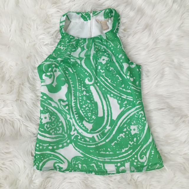 Printed Green Halter Top