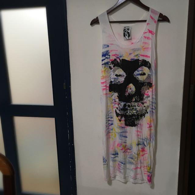 (保留)Rocker骷髏潑漆長版連身裙