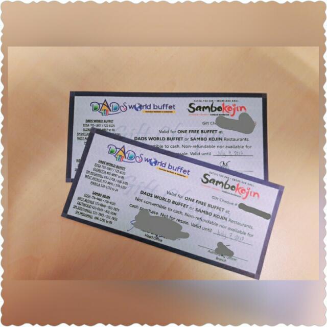 Kojin Dads World Buffet Tickets Vouchers Gift Cards