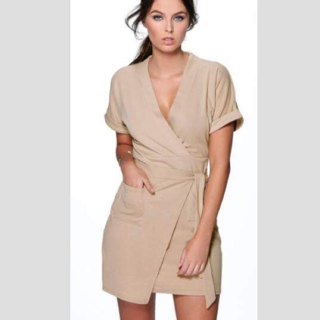 Sand Tie Wrap Dress
