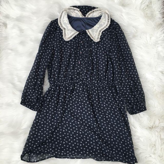 Sparrow Print Babydoll Dress