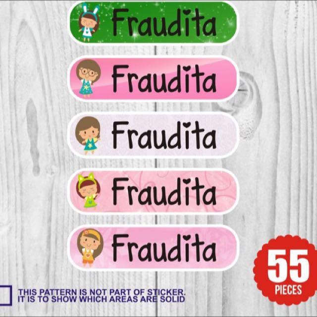 Sticker Label Nama : Custom