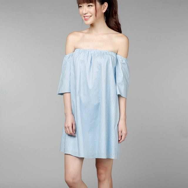 6620f742cfa9 The Velvet Dolls Pinstriped Off Shoulder Mini Dress In Blue TVD ...