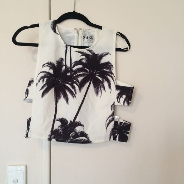 Tropical Print Cropped Top Sz s