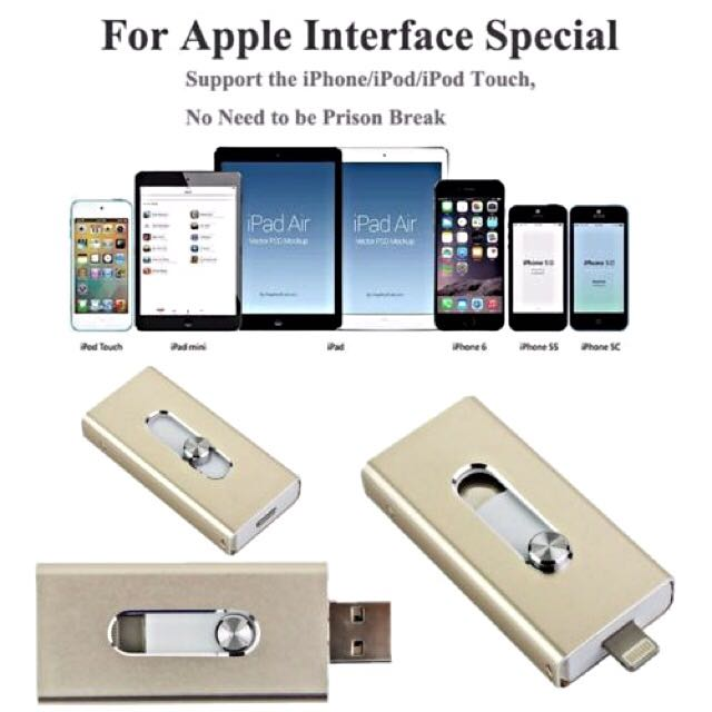 USB OTG i-Flash Device 32GB Memory Drive for iPhone 5 5s 6 6s Plus iPad Air
