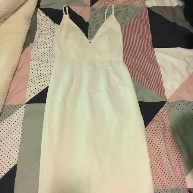White Body on Midi Dress Size 8