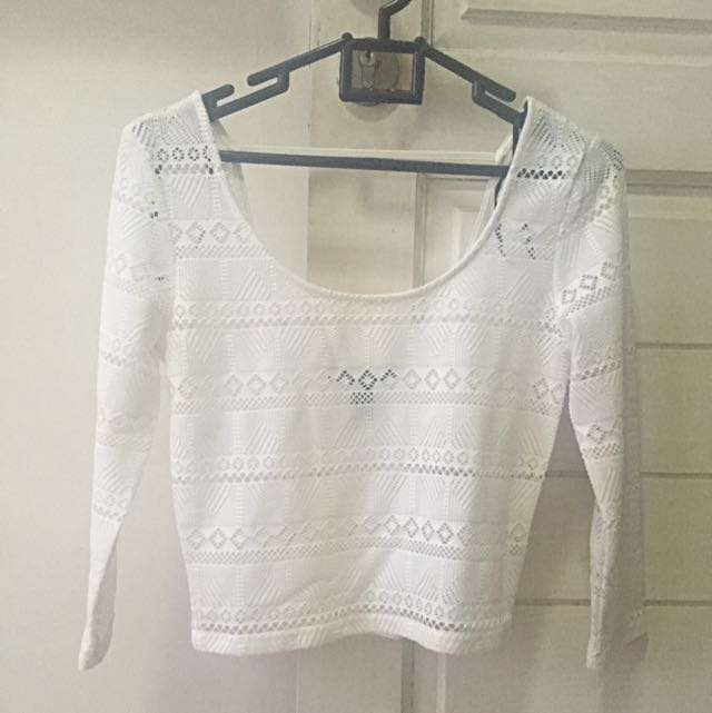 White Lace Forever 21 Crop Top