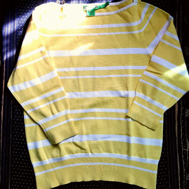 Yellow And White Stripes Pullover