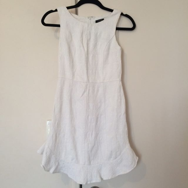 Zalora White Frill Trim Dress Sz XS