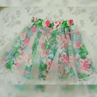 透視花卉雪紡紗裙#200元短褲