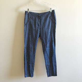 Navy Patterned Trousers