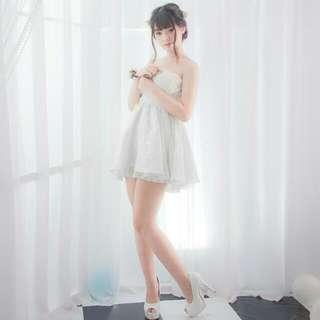 韓版可愛蓬蓬白色小禮服