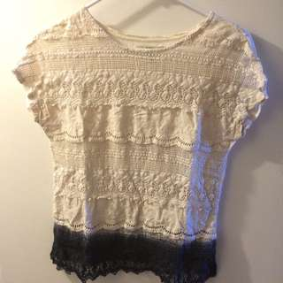 Zara Cream And Black Lace Shirt