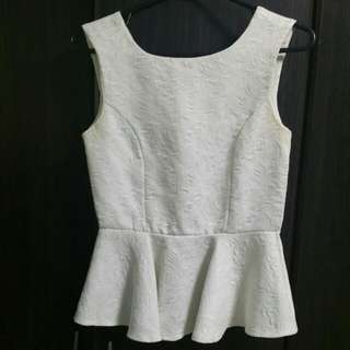 White Peplum Top With Flower Texture