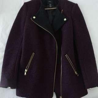 Forever 21 Boucle Moto Jacket (Size M) Black and Burgundy