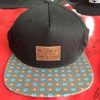 Mens Element Snapback Black Leather Patch Contrast Bill
