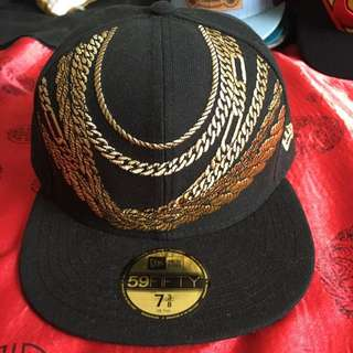 Mens New Era Chain Snapback Black Gold Size 7 3/8