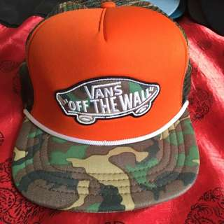Mens Vans Orange Camo Snapback Trucker Cap
