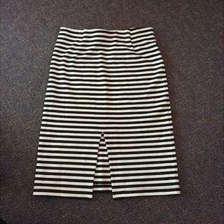 Striped Midi Skirt With Front Split - Size XS