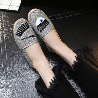 Brand New Sequinned Funny Print Sequinned Flats