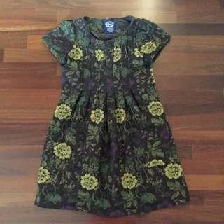 Brown Vintage Dress With Floral Print